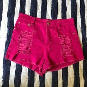 Minkpink hot pink distressed shorts